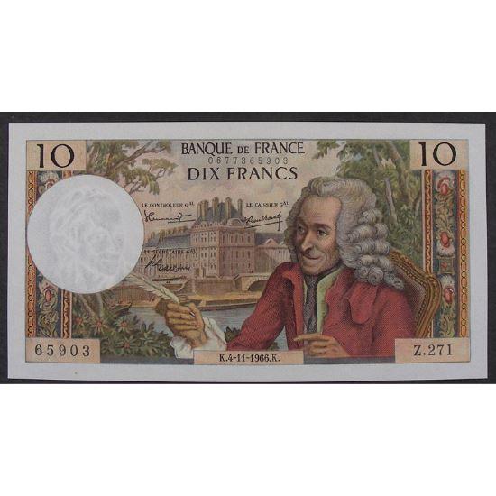 10 Francs Voltaire 4.11.1966, Z.271, SUP