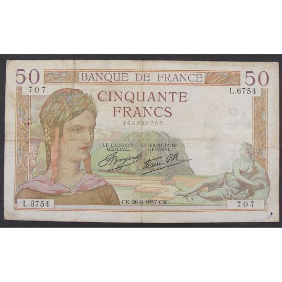 50 Francs Cérès 26.8.1937, L.6754, TB+