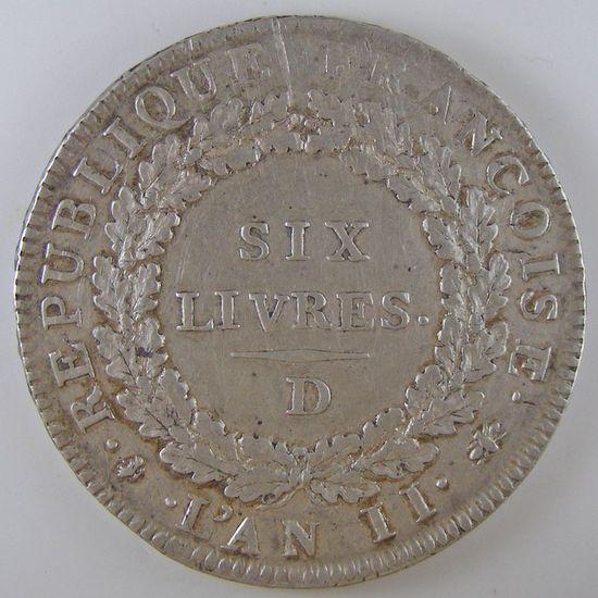 Convention, Ecu de 6 livres 1793 D, Gadoury: 58, TTB