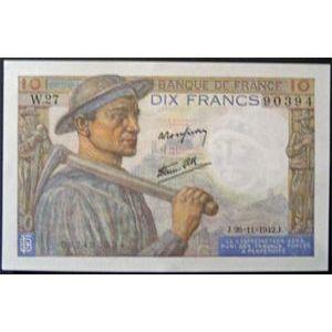 10 Francs Mineur 26-11-1942, p.Neuf