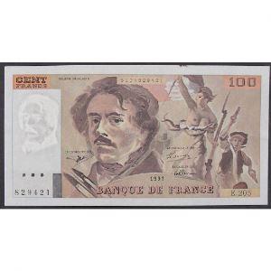 100 Francs Delacroix 1991, E.205, TTB