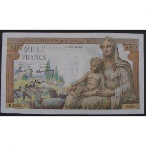 1000 Francs Déesse Déméter 6.5.1943, U.5333, SUP