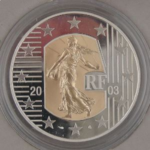 5 Euro 2003 BE Or et Argent, La Semeuse Carte de l'Europe