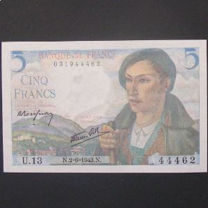 5 Francs Berger 2-6-1943 , TTB+/SUP