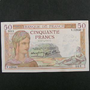 50 Francs Cérès  14.3.1940, TTB