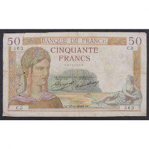 50 Francs Cérès 15.11.1934 , C.3, B+