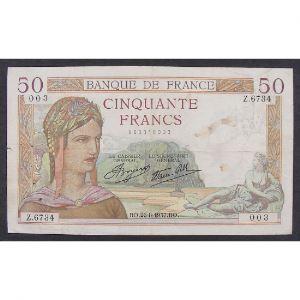 50 Francs Cérès 26.8.1937, Z.6744, TB+