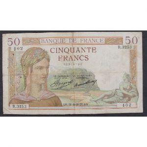 50 Francs Cérès 31.10.1935, R.3253, TB