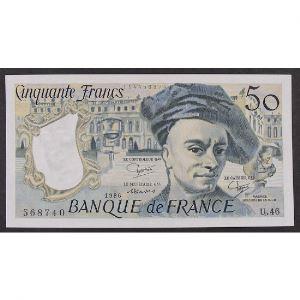 50 Francs Quentin de la Tour 1986, U.46, SUP+