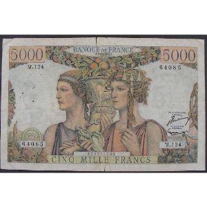 5000 Francs Terre et Mer 2.1.1953, M.124, TB/TB+