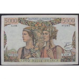 5000 Francs Terre et Mer 2.1.1953, M.124, TB+/TTB