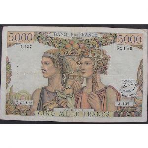 5000 Francs Terre et Mer 2.7.1953, A.137, TB+