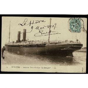 76 - LE HAVRE - Sortie du Transatlantique La Bretagne. - LL