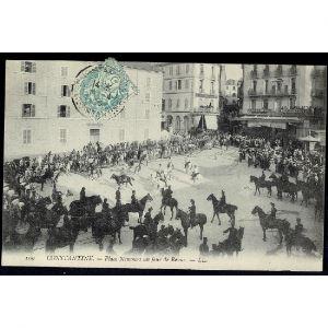 ALGERIE - Constantine - Place Nemours un Jour de Revue