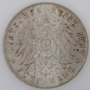 Allemagne, Bayern, 5 Mark 1911 D, SUP/SUP+, KM#999
