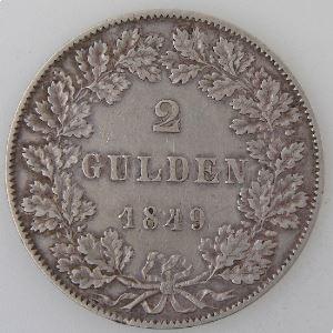 Allemagne, Frankfurt, 2 Gulden 1849, TTB/TTB+, KM#333