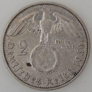 Allemagne , 3ème Reich, 2 Reichsmark 1936 G, TTB, KM#93