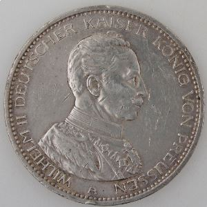 Allemagne , Preussen, 5 Mark 1914 A, TTB+, KM#536.