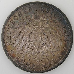 Allemagne , Preussen, 5 Mark 1914 A, TTB+/SUP, KM#536.
