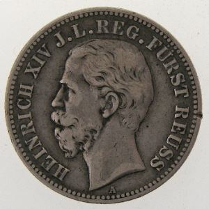 Allemagne , Reus Jüngerer Linie, 2 Mark 1884 A, TB+, KM#82