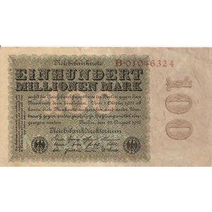 Allemagne, 100 Millionen Mark, TB+, Pick: 107a