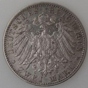 Allemagne , Baden, 2 Mark 1903 G, TTB, KM#272.