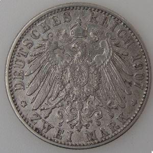 Allemagne , Baden, 2 Mark 1907 G, TTB, KM#272.