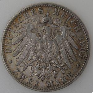 Allemagne, Hamburg, 2 Mark 1907 J, TTB, KM#612.