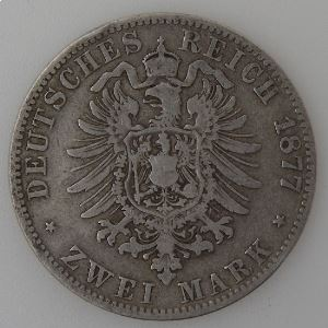 Allemagne, Preussen, 2 Mark 1877 A, TB/TB+, KM#506.