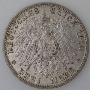Allemagne , Preussen, 3 Mark 1910 A, TTB+, KM#527