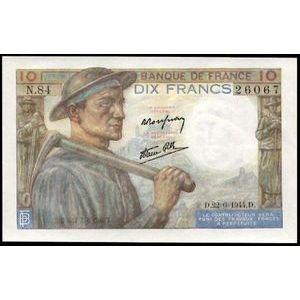 Banque de France, 10 Francs Mineur 22.6.1944, F: 8/12, SPL