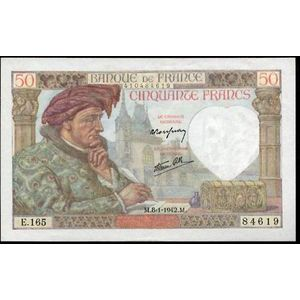 Banque de France, 50 Francs Jacques Cœur 8.1.1942, F: 19/18, SUP