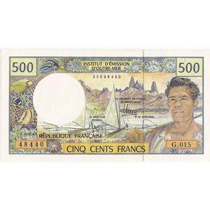 Billet du monde, Polynésie Française, 500 Francs N° 48440 G.015