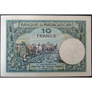 Billets anciennes colonies françaises, Banque de Madagascar, 10 Francs n.d