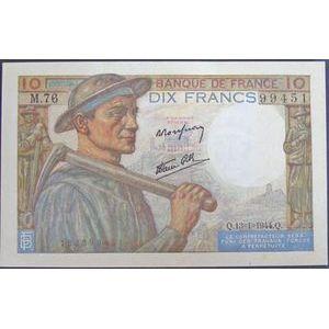 Billets français, Banque de France, 10 Francs Mineur 13-1-1944