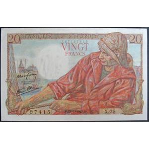 Billets français, Banque de France, 20 Francs Pêcheur 28-1-1943