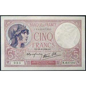 Billets français, Banque de France, 5 Francs Violet 21-9-1939