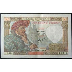 Billets français, Banque de France, 50 Francs Jacques Coeur 13-3-1941