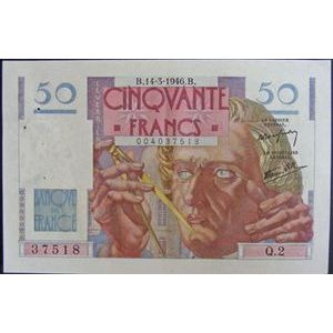 Billets français, Banque de France, 50 Francs Le Verrier 14-3-1946