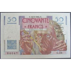 Billets français, Banque de France, 50 Francs Le Verrier 16-5-1946