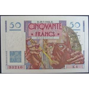 Billets français, Banque de France, 50 Francs Le Verrier 28-3-1946