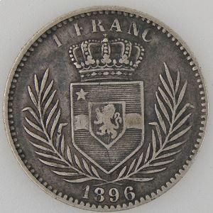 Congo Belge, Belgium Congo, 1 Franc 1896, TB+, KM#6