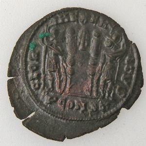 CONSTANTIN II, CONTANTINUS II, Follis, R/ GLORIA EXERCITVS, TTB+/SUP
