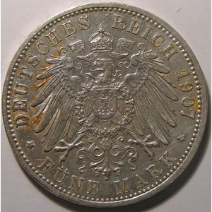 Empire Allemand, Baden, 5 Mark 1907 G, TTB/TTB+, AKS# 152