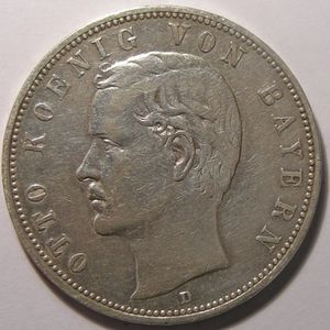 Empire Allemand, Bayern, 5 Mark 1907 D, TTB, AKS# 201
