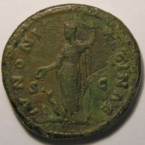 Empire romain, Faustina junior, As, R/ IVNONI REGINA SC, 13.46 Grs, TB+