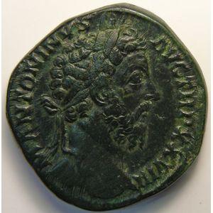 Empire romain, Marc Aurèle, Sesterce, R/ IMP VI COS III SC, 23.44 Grs, TTB/TTB+