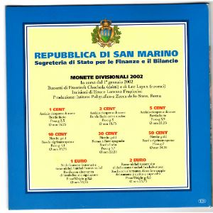 Euro, Saint Marin, coffret Brillant Universel 2002