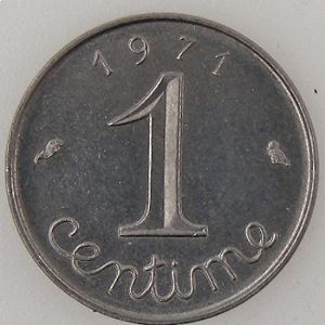 France, 1 Centime 1971, SUP, KM#928 .