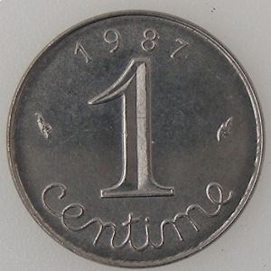 France, 1 Centime 1987, SUP+, KM#928 .